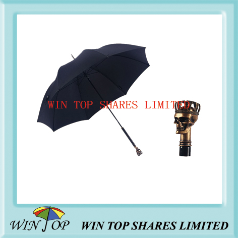 men hand open skeleton umbrella